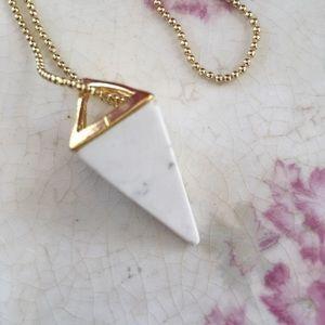 Howlite Pyramid Pendant 14k Gold Plated Ball Chain
